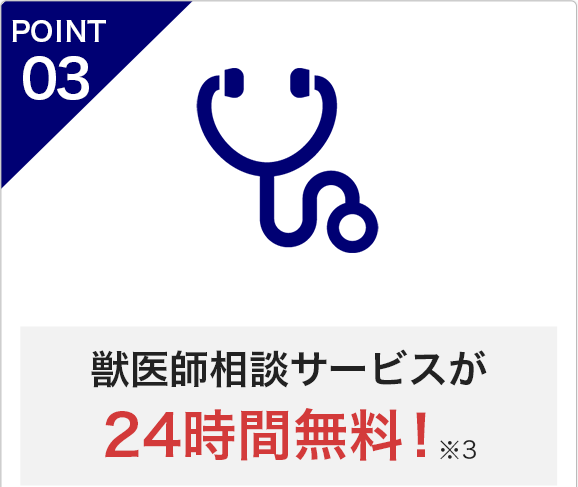 POINT3 獣医師相談サービスが24時間無料!※3